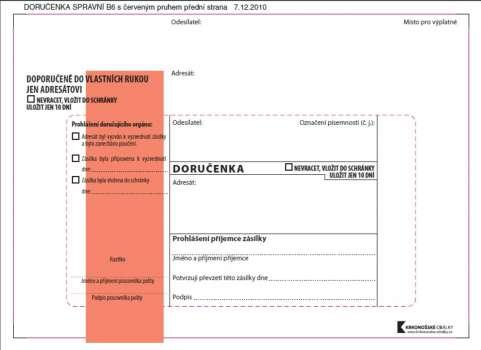 Obálky B6 - Doručenka o správním řízení - červená, samolepicí, 100 ks