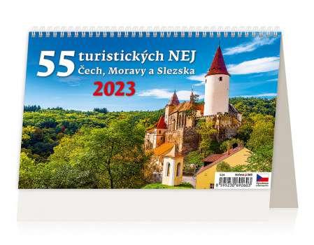 Stolní kalendář 55 turistických nej Čech/Moravy/Sk