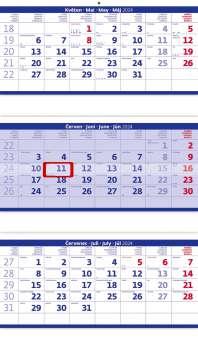 Nástěnný kalendář 2017 tříměsíční skládaný - modrý