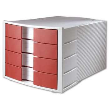 Box zásuvkový HAN - 4 zásuvky, červená