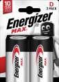 Alkalické baterie Energizer Max 1,5 V, typ D, 2 ks