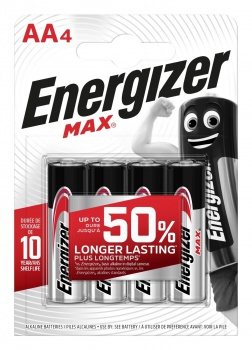 Alkalické baterie Energizer Max - 1,5 V, typ AA, 4 ks