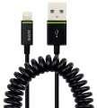 Stočený kabel Lightning na USB - 1 m, černá