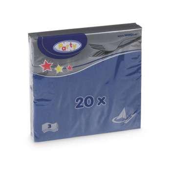 Papírové ubrousky -  třívrstvé, modré, 20 ks