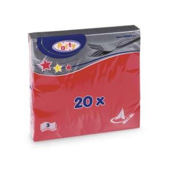 Papírové ubrousky -  třívrstvé, červené, 20 ks