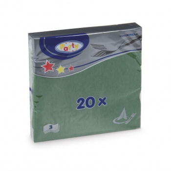Papírové ubrousky -  třívrstvé, zelené, 20 ks