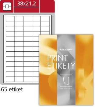 Snímatelné etikety - 38 x 21,2 mm, 6500 ks, bílé