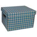 Dekorativní krabice - 22,5 x 20 x 30 cm, modrá  tisk, 2 ks