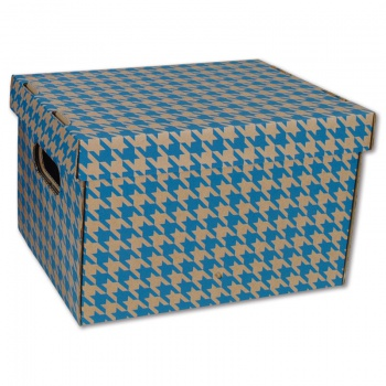 Dekorativní krabice - 22,5 x 20 x 30 cm, modrý tisk, 2 ks