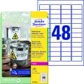 Samolepicí etikety polyesterové - bílá,  velmi odolné, 45,7 x 21,2 mm, 960 ks