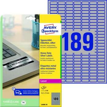Samolepicí etikety velmi odolné polyesterové - stříbrné, 25,4 x  10 mm, 3780 ks