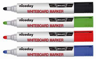 Popisovač na bílé tabule Niceday - kulatý hrot, sada 4 barev