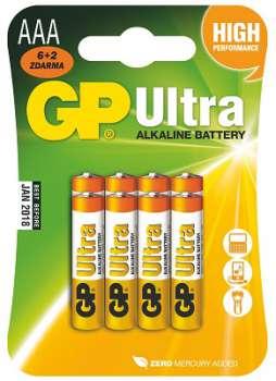 Baterie GP Ultra Alkaline LR03 - 1,5 V, typ AAA, 6 + 2 ks