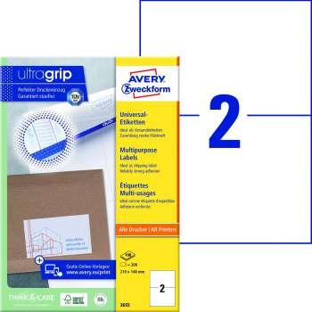 Samolepicí etikety Avery - 210,0 x 148,0 mm, 200 etiket