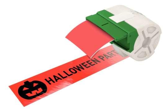Samolepicí plastová páska Leitz Icon - červená, šířka 88 mm, návin 10 m, černé písmo