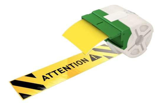Samolepicí plastová páska Leitz Icon - žlutá, šířka 88 mm, návin 10 m, černé písmo