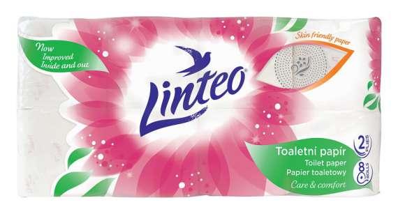 Toaletní papír Linteo Satin - dvouvrstvý, bílý s potiskem, 8 rolí