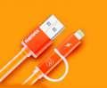Datový kabel podsvícený Aurora 2-v-1, micro USB, oranžový