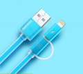 Datový kabel podsvícený Aurora 2-v-1, micro USB, modrý