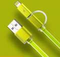 Datový kabel podsvícený Aurora 2-v-1, micro USB, zelený