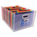 Aktovka/organizér Exacompta Crystal - 33 x 23,5 x 25 cm, čirá, 24 barevných přihrádek