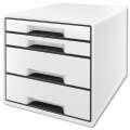 Zásuvkový box Leitz B&W, 4 zásuvky, bílá