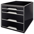 Zásuvkový box Leitz B&W - 4 zásuvky, černý