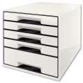 Zásuvkový box Leitz B&W -  5 zásuvek, bílý