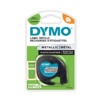 Páska Dymo LetraTag - stříbrná, šířka 12 mm, návin 4 m, černé písmo (metalická)