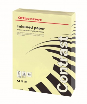 Barevný papír Office Depot Contrast - A4, pastelově žlutá, 80 g, 500 listů