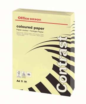 Barevný papír Office Depot Contrast  A4  pastelově žlutá, 80g/m2, 500 listů