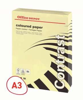 Barevný papír Office Depot Contrast  A3 - pastelově žlutý, 80 g/m2, 500 listů