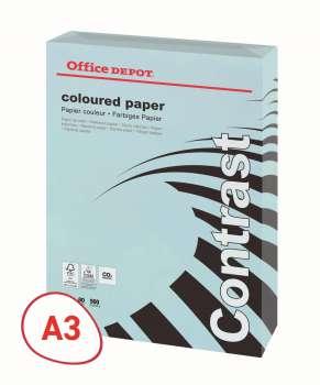 Barevný papír Office Depot Contrast - A3, pastelově modrý, 80 g, 500 listů