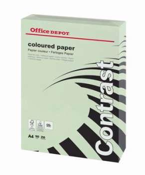 Barevný papír Office Depot Contrast - A4, pastelově zelená, 160 g, 250 listů