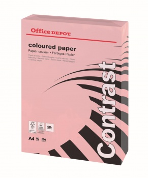Barevný papír Office Depot Contrast  A4 - pastelově růžový, 80 g/m2, 500 listů