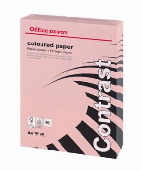 Barevný papír Office Depot Contrast - A4, pastelově růžová, 160 g, 250 listů