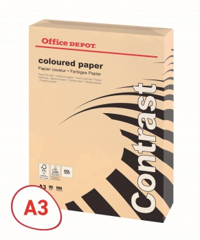 Barevný papír Office Depot Contrast - A3, lososová, 80 g, 500 listů