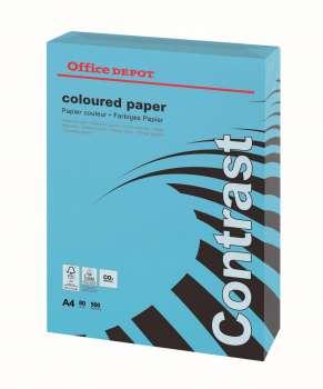Barevný papír Office Depot Contrast - A4, intenzivní modrá, 80 g, 500 listů