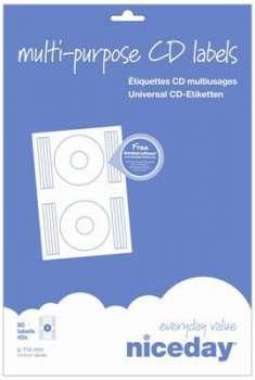 Samolepicí etikety na CD/DVD - průměr 114 mm, 80 ks