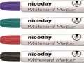 Popisovač na bílé tabule Niceday, kulatý hrot, široké tělo - 4 barvy