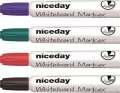 Popisovač na bílé tabule Niceday, zkosený hrot, široké tělo -4 barvy