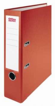 Pákový pořadač Office Depot - A4, s kapsou, kartonový, hřbet 7,5 cm, červený