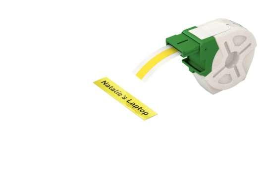 Samolepicí plastová páska Leitz Icon - žlutá, šířka 12 mm, návin 10 m, černé písmo