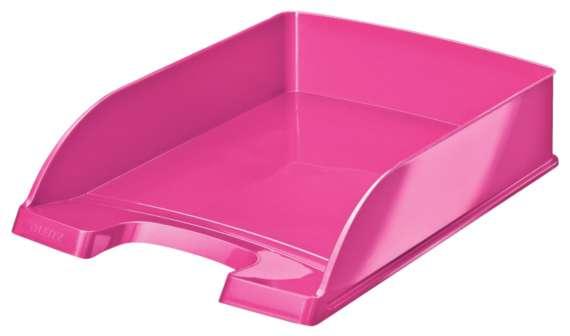 Odkladač Leitz WOW Plus, metalicky růžová