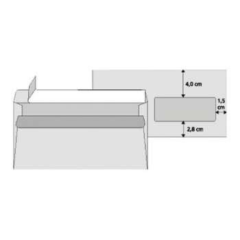 Obálky Office Depot - DL, s okénkem, samolepicí, 1000 ks