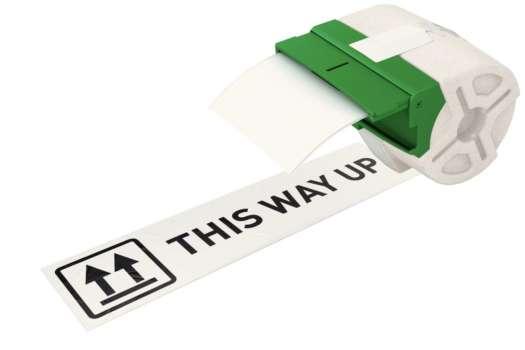 Samolepicí papírová páska Leitz Icon - bílá, šířka 88 mm, návin 22 m, černé písmo