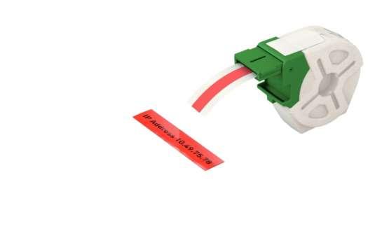 Samolepicí plastová páska Leitz Icon - červená, šířka 12 mm, návin 10 m, černé písmo