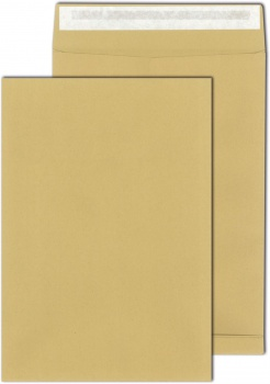 Obchodní tašky   s křížovým dnem - B4, samolepicí, s krycí páskou, hnědé, 100 ks