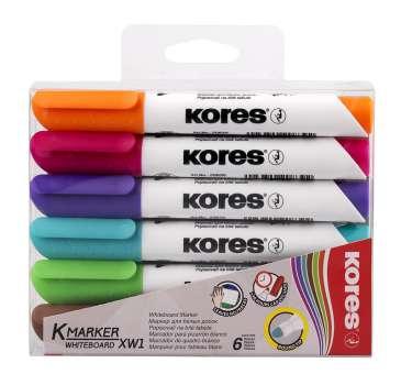 Sada popisovačů na bílé tabule Kores, sada 6 barev