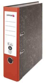 Pákový pořadač Niceday - A4, kartonový, nalepená hřbetní etiketa, šíře hřbetu 7,5 cm, červený